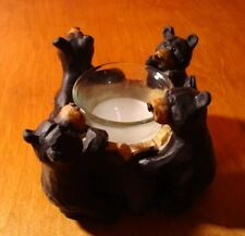Rustic Lodge Faux Wood Carved BLACK BEAR TREE TRUNK CANDLE HOLDER Cabin Decor