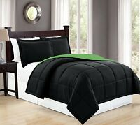 Fancy Linen Down Alternative Comforter Set Reversible Black/Lime Green AllSizes