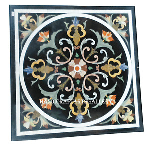 """24""""x24"""" Black Marble Coffee Table Top Inlaid Marquetry Mosaic Arts Decors H2424A"""