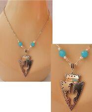 Blue Chain Southwestern Beaded Arrowhead Necklace Cactus Pendant Silver