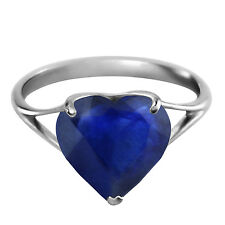 Platinum Plated 925 Sterling Silver Ring w/ Natural 10.0 mm Heart Sapphire