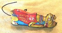 1939 Walt Disney Louis Marx Wise Pluto Tin Wind Up Toy  WATCH ME ROLL OVER!