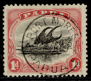 AUSTRALIA - Papua EDVII SG49, 1d black & rose, VERY FINE USED. CDS