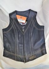 Harley Davidson NEW Women's Black Brown Leather Vest XS Motorcyle Bike NWT Zip