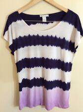 Design history Women's Tie dye Short Sleeve Knit Top XL blue & white