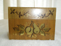Vintage J Chein & Co Recipe Box Brown Gold Fruit Made in USA