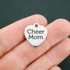 Cheer Mom Charm Polished Stainless Steel - Quantity Options - BFS070