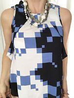 CUE WOMENS TOP BLOUSE MADE IN AU POLY A LINE BLUE WHITE BLACK SZ 10
