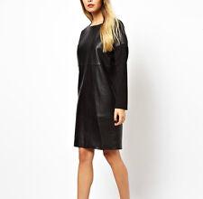 $299 Designer  Premium  WHITE Label Genuine LEATHER DRESS Black Khaki UK 4-12
