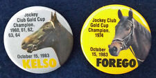 KELSO & FOREGO - SET OF TWO 1983 HORSE RACING PINBACK BUTTONS FROM BELMONT PARK!