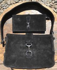 White House Black Market Black Suede Leather Shoulder Hobo Bag & Wallet