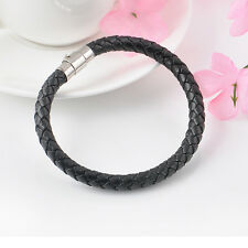 Men Women Genuine Braided Leather Steel Magnetic Clasp Wristband Bracelet one hs