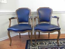 SET OF VINTAGE ROCOCO  LEATHER CHAIRS VERY NICE