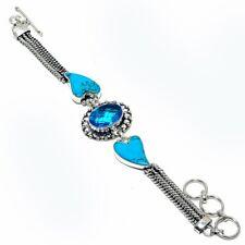 "Handmade Jewelry Bracelet 7-8"" Zb-583 Blue Topaz, Turquoise Heart Gemstone"