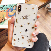 Bling Cute Star Clear Soft Rubber Shockproof Cover Case For iPhone X 8 7 6s Plus
