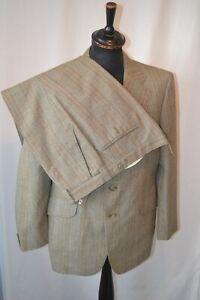 "Vintage 1970's Burton green window check large collar 2 piece suit  42""  W 38"""