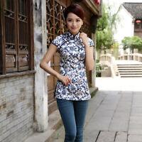 Women mini qipao Chinese traditional wedding evening dress cheongsam WhiteBlue