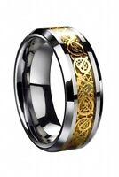 Dragon Scale Dragon Pattern Beveled Edges Celtic Rings Jewelry Wedding Band K9Z4