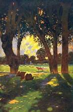 Trees Pasture, Cows by Maxfield Parrish