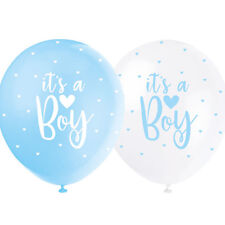 5 It's a Boy Balloons White Blue Baby Shower Party Decoration Latex Helium 56115