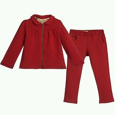 NWT NEW Burberry Baby girls red jersey tracksuit jacket pants 3m