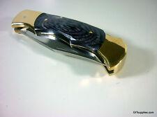 "8"" FOLDING VINTAGE POCKET HUNTING KNIFE STAINLESS STEEL BLADE LEATHER SHEATH"