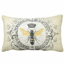 Vintage French Queen Bee Cushion Cover Throw Lumbar Waist Pillow Case Home Decor