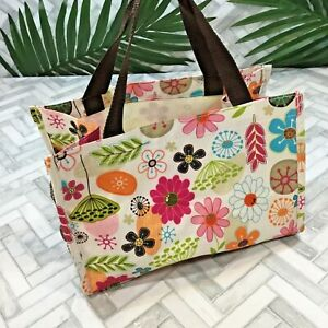 Thirty One Caddy Carry All Tote Bag Purse Organize Pocket Floral Pink Brown Blue