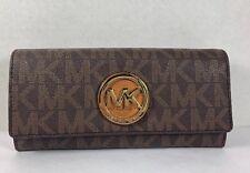 Michael Kors Brown Acorn PVC MK Logo Fulton Flap Continental Carryall Wallet