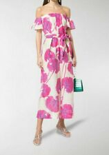 Diane Von Furstenberg Helena Floral Jumpsuit Sz L off shoulder wide leg sash
