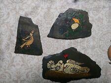 Folk Art Primitive Painting on Slate Vintage Signed Dated Estate Lot Birds