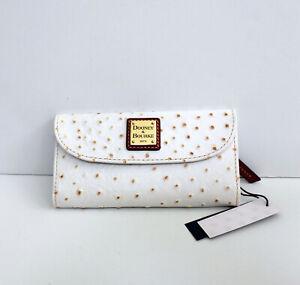 Dooney & Bourke Ostrich Continental Leather Trifold Clutch Wallet - Bone White