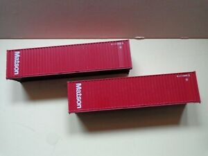 """Atlas HO scale 40ft, shipping containers, lot of 2, """"Matson"""" paint"""