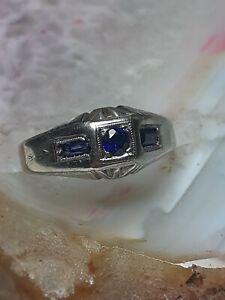 Vintage 4.7g 18kt White Gold Mens Dark BLUE Sapphire Signet RING Sz7 no Scrap