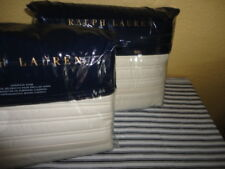 RALPH LAUREN REED HOLLYWOOD CREAM ADOBE QUILTED (PAIR) EURO PILLOW SHAMS 26 X 26