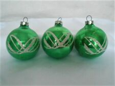 New Listing3 Vintage Green Shiny Brite Glass Christmas Ornaments, Silver Glitter Stenciled