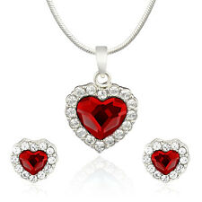 Mahi Red Titanic Heart Pendant Set Made with Swarovski Elements NL1104119RRed