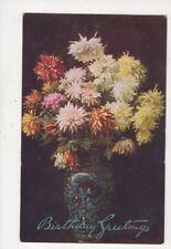 Flowers In Vases Gunning King [Tuck 3427] Birthday Greetings Postcard 827a