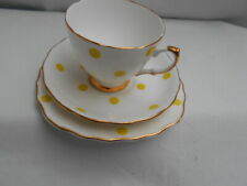 Royal Vale - Yellow Polka Dot Trio - Cup, Saucer  and side Plate (af)