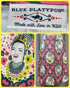Blue Platypus Carmen Miranda A Line Women's Small Midi Skirt Pockets Made USA