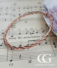 Fine 9ct Rose Gold Women's Tube Bangle with a Twist