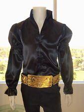 (NEW) ELVIS Black Satin Puffy Sleeve Shirt (Tribute Artist Costume) Jumpsuit Era