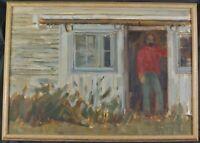 Vintage Original 1982 Oil Painting Figure in Barn Door by Townsend Howe Listed