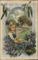 Easter Little Girl w/ Chicks c1910 PFB Postcard