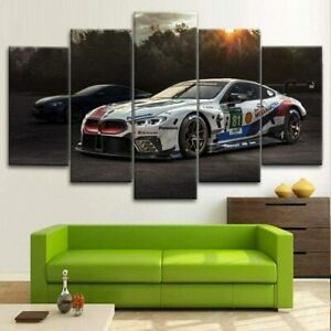 BMW M8 Racing Car 5 Pieces Canvas Wall Art Print Home Decor