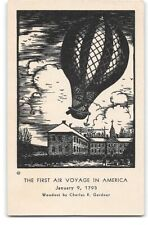 Postcard depicting The First Air Voyage-America Hot Air Balloon-Charles Gardner