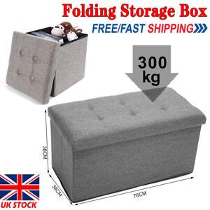 Large Fine Linen Folding Storage Ottoman Pouffe Seat Foot Stool Storage Box UK