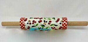 NEW Disney Parks Mickey and Minnie Mouse Cherry Floral Gingham Retro Rolling Pin