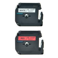 2 Pack Mk231 Mk431 Black On White Red For Brother Ptouch Pt 65sl 12mm Label Tape
