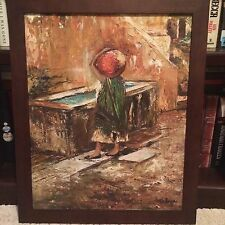 Vintage Original Signed Oil Painting Figure Of Woman With Water Jug